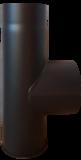 Rookkanaal EW Ø150mm 2mm T- stuk 90°graden met dop en 1 keer verjonging (kleur zwart) _