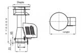 Rookgasventilator Isotube met vierkante basis en kap 150mm _