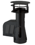 Rookgasventilator Isotube met inlaatpijp en kap 200mm Zwart_