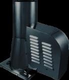 Rookgasventilator Isotube met vierkante basis en kap 200mm Zwart_