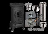 Tuinkachel Verandakachel Terraskachel Buitenkachel Set.  Deco 7 met compleet rookkanaal set  Platdak Bitumen 0-5 graden + EW_