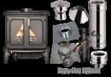 Tuinkachel Verandakachel Terraskachel Buitenkachel Set.  Maxi Man met compleet rookkanaal set Platdak Bitumen 0-5 graden_