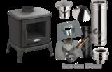 Tuinkachel Verandakachel Terraskachel Buitenkachel Set. Deria 10 met compleet rookkanaal set  Platdak Bitumen 0-5 graden + EW_