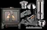 Tuinkachel Verandakachel Terraskachel Buitenkachel Set. Maxi Man met compleet rookkanaal set Schuindak Dakpannen 45-60 graden +EW_