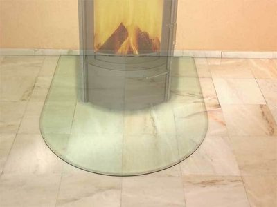 Glas vloerplaat Half rond 1000 x 1200 x 8 mm met facet