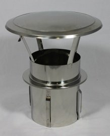 Diamond 200 mm RVS zelfklemmende regenkap tbv kachelpijp / rookkanaal