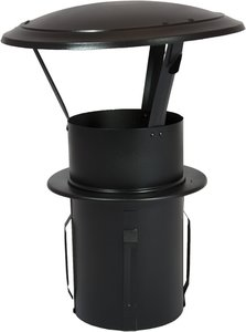 EW Ø120mm gegalvaniseerd zelfklemmende regenkap tbv Rookkanaal (zwart)