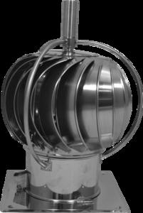 Turbo-Q-vent Draaikap 150mm met draailager buiten de kap met bodemplaat