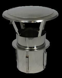 RVS Zelfklemmende Regenkap met opklapbaar deksel 130mm