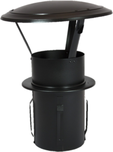 Gegalvaniseerde Zelfklemmende Regenkap met opklapbaar deksel 130mm Zwart