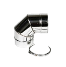 Holetherm enkelwandig rookkanaal 150mm Bocht 90 Graden