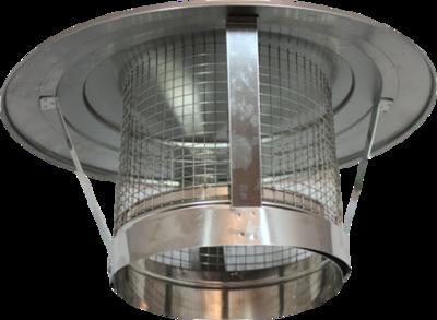 Holetherm enkelwandig rookkanaal 150mm Regenkap met gaas