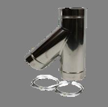 Holetherm enkelwandig rookkanaal 200mm T-stuk 45 Graden met deksel