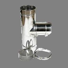 Holetherm enkelwandig rookkanaal 200mm T-stuk 90 Graden met deksel