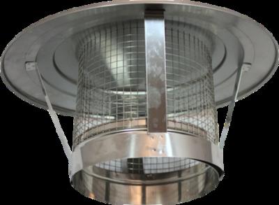 Holetherm enkelwandig rookkanaal 200mm Regenkap met gaas