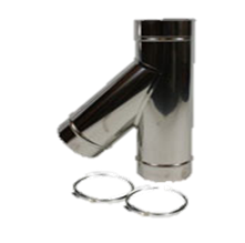 Holetherm enkelwandig rookkanaal 250mm T-stuk 45 Graden met deksel