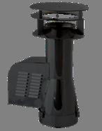 Rookgasventilator Isotube met inlaatpijp en kap 150mm Zwart