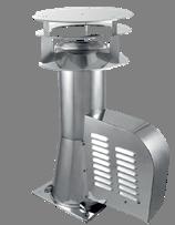 Rookgasventilator Isotube met vierkante basis en kap 150mm