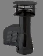 Rookgasventilator Isotube met inlaatpijp en kap 200mm Zwart