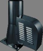 Rookgasventilator Isotube met vierkante basis en kap 200mm Zwart