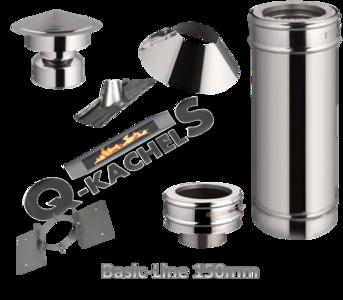 Voordeel set; compleet rookkanaal set BL 150mm 0 graden tbv pannendak