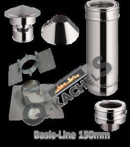 Voordeel set; compleet rookkanaal BL 150mm tbv Schuin dak 5-30 graden met plakplaat