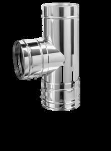 Dubbelwandig L=500 mm T-stuk 87° 200/265 mm Hark Premium