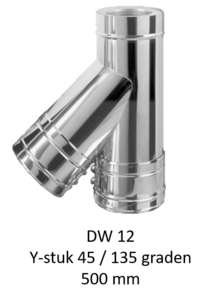 Dubbelwandig L=500 mm Y-stuk 45/135° 200/265 mm Hark Premium
